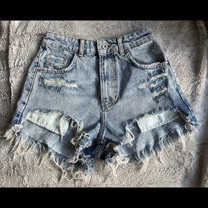 Bershka denim high rise distressed jean shorts
